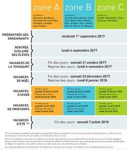 Calendrier scolaire pour l'année 2017-2018